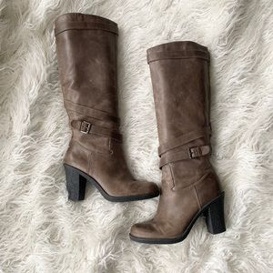 Loft tall taupe leather heeled boots
